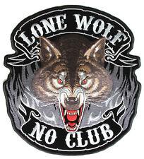 LONE WOLF NO CLUB Patch Aufnäher Aufbügler V2 Biker Chopper Motorrad Harley