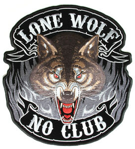 LONE-WOLF-NO-CLUB-Patch-Aufnaeher-Aufbuegler-V2-Biker-Chopper-Motorrad-Harley