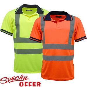 Hi-Viz-Vis-Alta-Visibilidad-Camisa-Polo-Cinta-Reflectante-Seguridad-Ropa-De-Trabajo-S-3XL