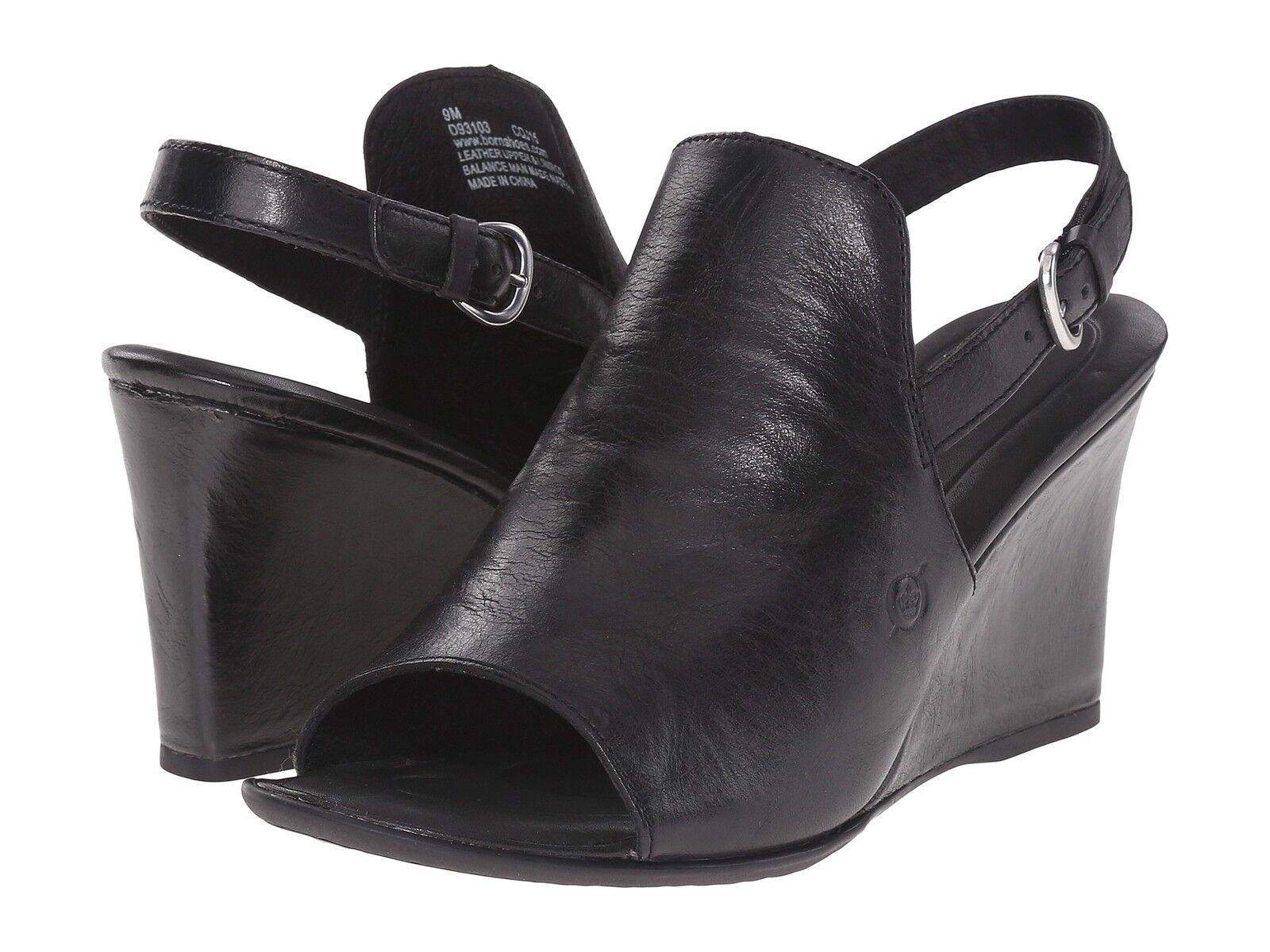 Born Bevi Black Slingback Peep Toe Wedge Women Size 6 M