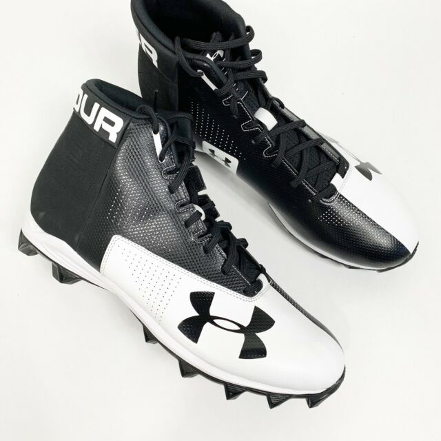 afe6d6e50 Under Armour RM Renegade Mid Football Rubber Cleats Black White Mens Sz 14