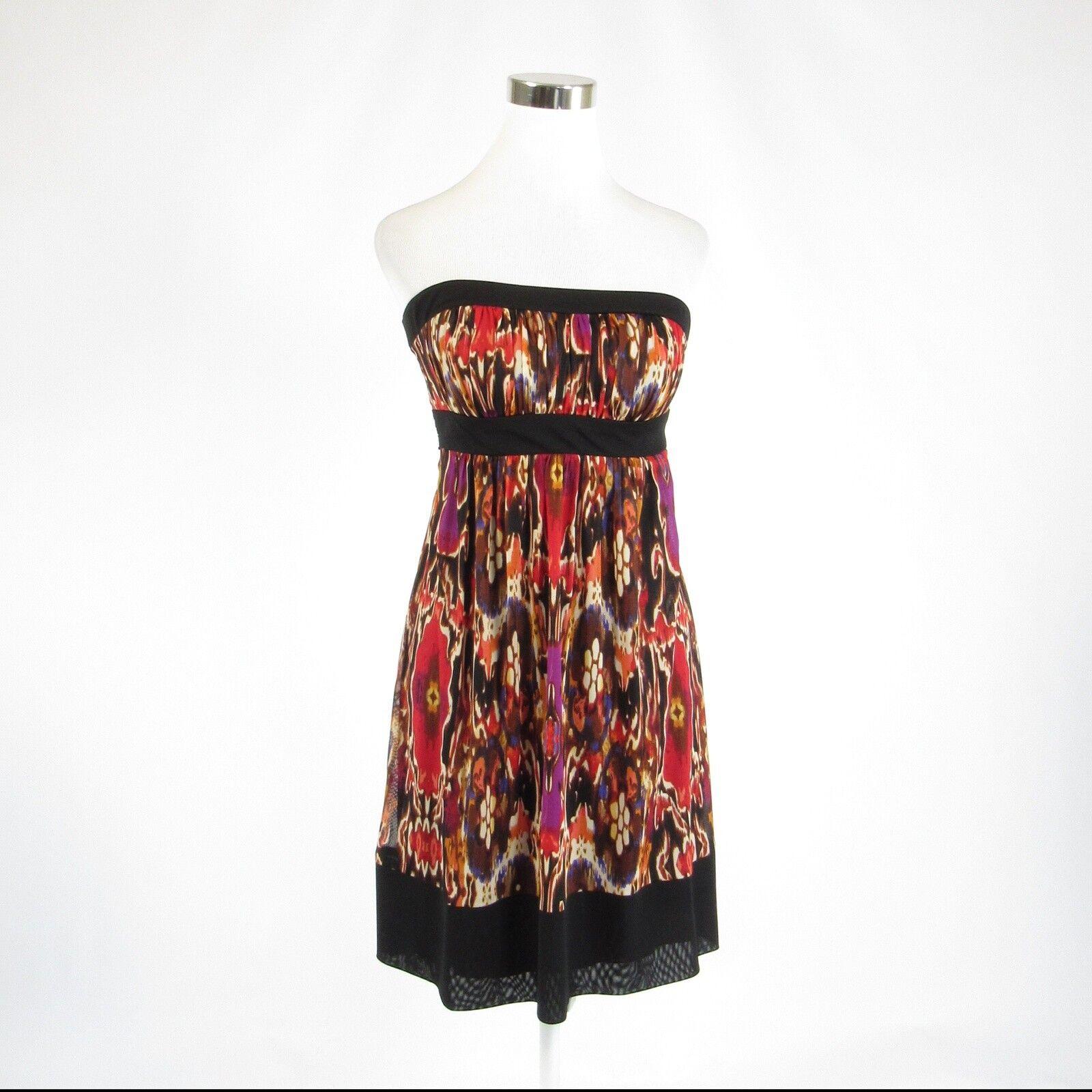 Dark brown red floral print ANTHROPOLOGIE MOULINETTE SOEURS sun dress 6