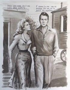 VINTAGE ORIGINAL 1955 ITALIAN ILLUSTRATION ART LOVELY NON NUDE WOMAN PAINTING