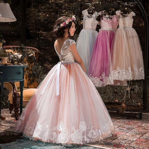 Mode Fur Madchen Madchen Lang Abendkleid Prinzessin Kinder Hochzeit Party Festkleid Ballkleider Kleider