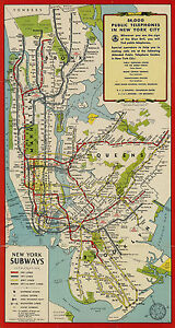 New York City Subway Map Metro Tube Mta Wall Art Poster Print Decor