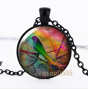 Starling sur branche Photo dôme en verre noir chaîne collier pendentif en gros