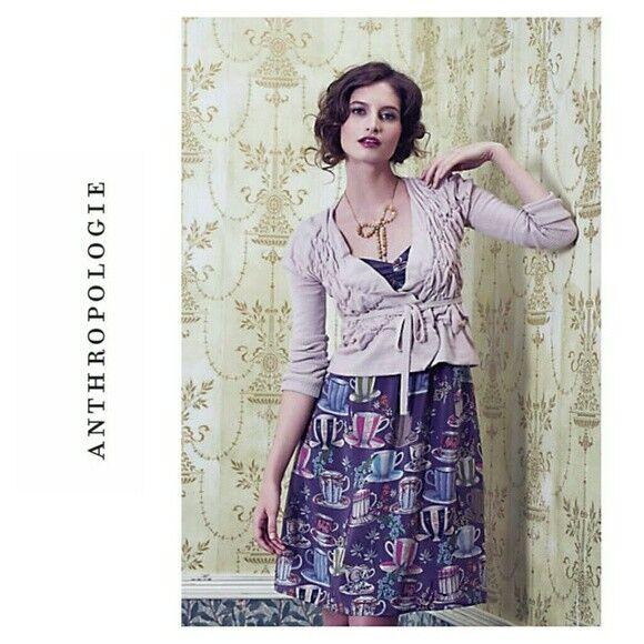 ANTHROPOLOGIE floreat sugar and cream tea cup dress 6 silk alice in wonderland