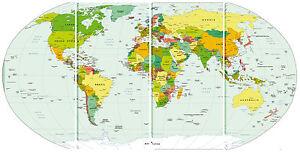 Cartina Mondo Paesi.Quadro Moderno Scuola Cartina Mondo Planisfero Politico Citta Nazioni 4pz 60x120 Ebay