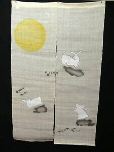 Brand new handwashable beige linen quot noren quot w moon amp rabbit curtain