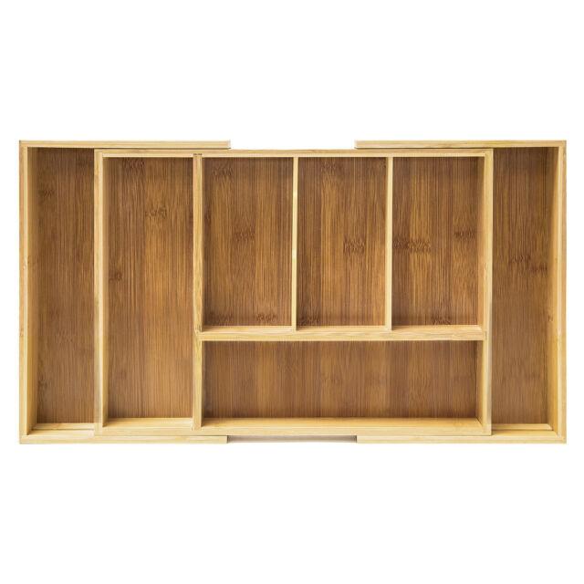 Expanding 5-7 Compartmen Bamboo Cutlery Drawer Utensil Organizer Silverware Tray
