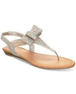 c194116f4f4 Image is loading Material-Girl-Shayleen-Flat-Thong-Sandals-Champagne-silver-