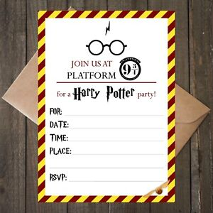 Image Is Loading Harry Potter Invitations 12 Card Invites Kraft Envelopes