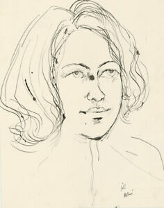Peter Collins ARCA - Signed c.1970s India Ink, Portrait of a Lady, 'Jill'