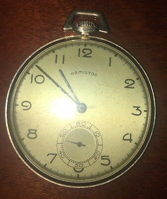 Pocket Watches Temperate Hamilton Pocket Watch Wadsworth Openface 14k Gold Filled Case 17jewel Size 16 Durable In Use