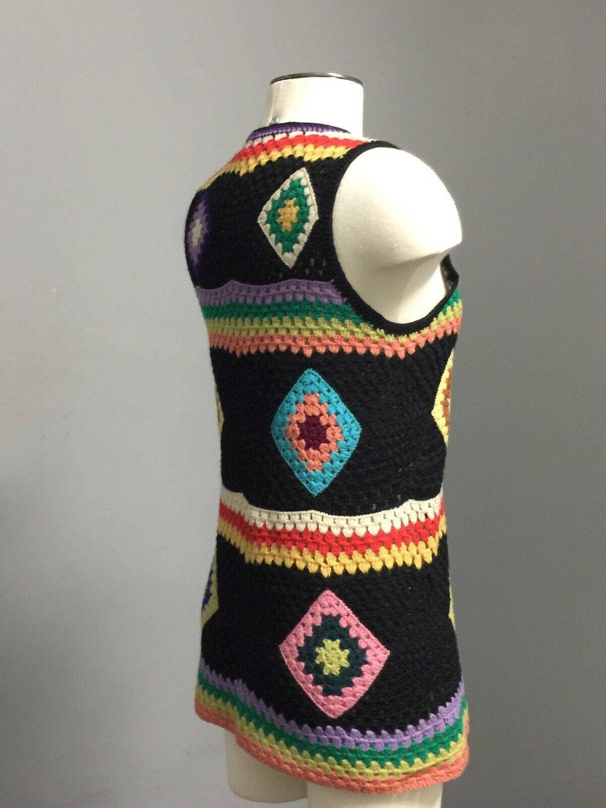 Vintage 70s Wool Handknit Crochet Black Multicolo… - image 8