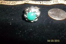 Vtg Oval green glass Braided silver Band Filigree Ring Adjustable western german
