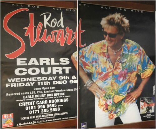 """2-PANEL 80X120"""" HUGE SUBWAY POSTERS~Rod Stewart 1998 Earls Court Live Tour NOS~"""
