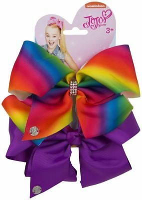 Di Larghe Vedute Rainbow/orchid Jojo Siwa Bow Set - Birthday Girl Fancy Dress Hair Accessories