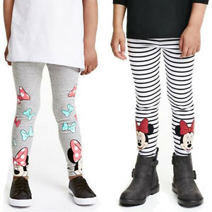 Toddler-Girls-Kids-Stripe-Minnie-Mouse-Print-Leggings-Pants-Casual-Trousers-2-7Y