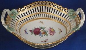 Antico-1800-kpm-Berlino-Porcellana-Reticolati-Floreale-Basket-Porzellan-Korb
