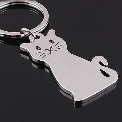 Cute Smooth Cat Kitty Metal Keychain Keyring Keyfob Car Key Ring Chain Gift Toy
