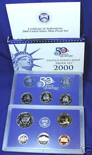 Complete and Original in BLUE  mint paper box 2000-s U.S Proof Set