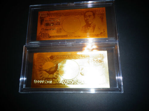 COMES IN ACRYLIC HOLDER-NEW 1993 24 KARAT GOLD JAPAN 10000 YEN GIFT BANKNOTE