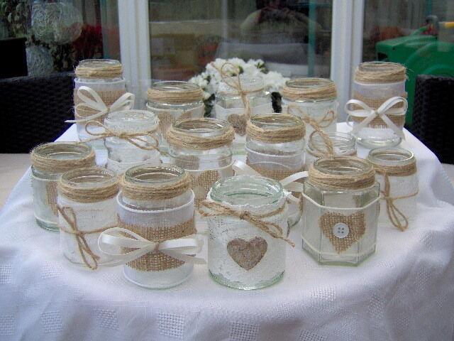 SHABBY CHIC/VINTAGE WEDDING DECORATED GLASS JAR TEA LIGHT HOLDERS/FAVOURS x 10