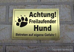 Achtung Freilaufender Hund,gravur,schild,12 X 8 Cm,hundeschild,warnschild,neu Verschiedene Stile Hunde Türschilder