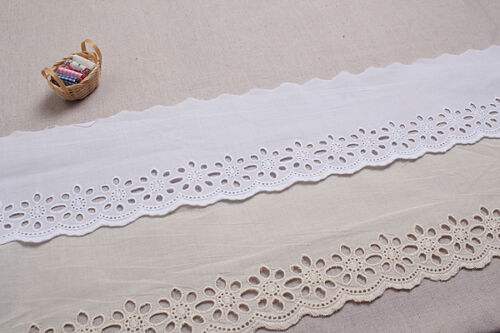 """10+free4Yds Broderie Anglaise cotton eyelet lace trim 3.9/"""" YH1481 laceking2013"""