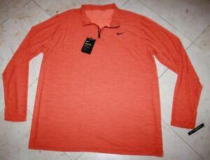 a6241106 NWT Men's NIKE LS Dri-Fit Breathe Quarter-Zip Top Orange - XXLT | eBay