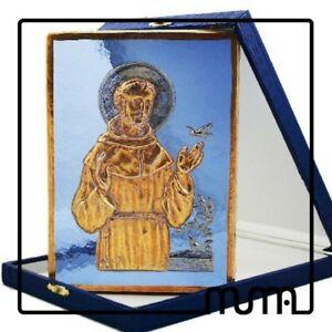 Icona-vetro-Murano-formella-San-Francesco-Patrono-d-039-Italia-murano-con-custodia