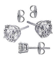 Sterling Silver Clear Round Cz Studs, Bonded In 18k White Gold, Aaa Prong Set