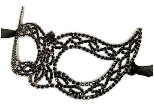 Black Rhinestone Crystals Half Mask Woman Halloween Costume Accessory Cat/'s Eyes