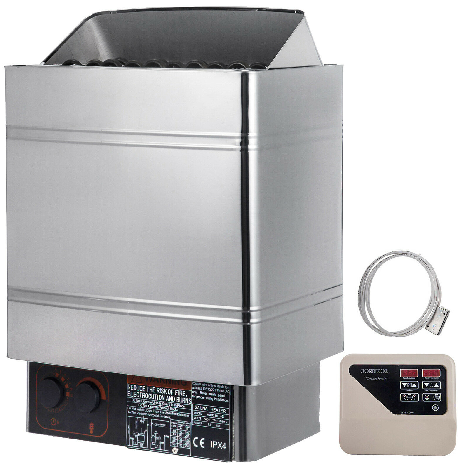 9KW Wet&Dry Sauna Heater Stove External Control Stainless Steel Spa Commercial