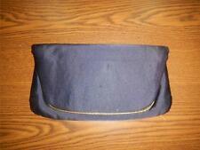 VTG Ingber Navy Blue Silk Fold Over Evening Bag Clutch Purse w/Built-in Mirror