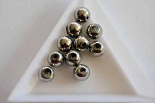 40 beads 8mm CrystaLine Round Silver Glass beads #4017