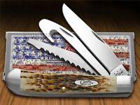 Case Xx Jigged Amber Bone Trapper Hunter Stainless Pocket Knives Knife on sale