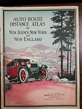 Auto Route Distance Atlas of New Jersey New York & New England 1924 Vintage Auto