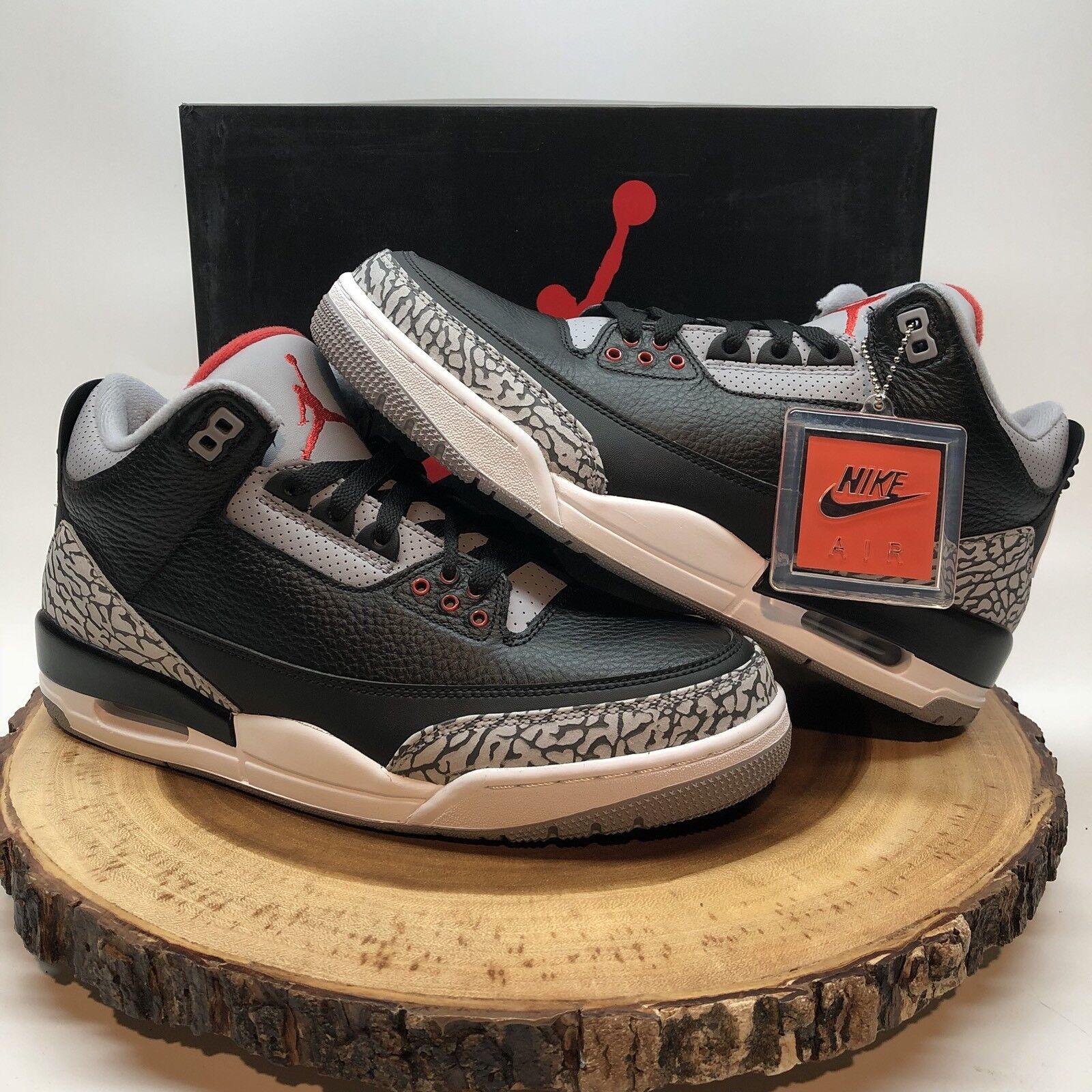 2018 Nike Air Jordan Retro 3 OG BC3 Black Cement 854262 001 Sz 10 White XI IV
