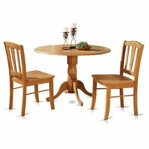 Pc Round Pedestal Drop Leaf Kitchen Table Chairs Solid Wood - Round pedestal dining table set with leaf