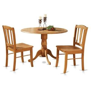 3pc round pedestal drop leaf kitchen table 2 chairs solid wood light