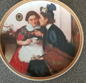 ROCKWELL-SOCIETY-OF-AMERICA-COLLECTOR-039-S-PLATE-18300-R-GOSSIPING-IN-THE-ALCOVE