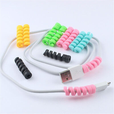 10pcs Spiral Cable Protector Earphone Wire Data Line Holder Winder Wrap Cord