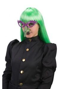Halloween-Sorciere-Violet-Lunettes-amp-Vert-Nez-Magicienne-Deguisement-Sorcieres