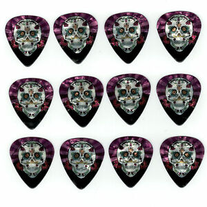 12-Pack-DAY-DEAD-SUGAR-SKULL-CROSS-PINK-Medium-Gauge-351-Guitar-Picks-Plectrum