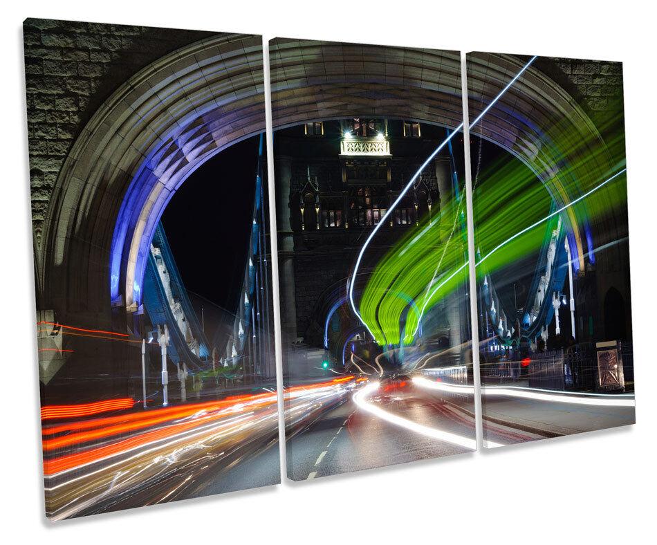 Tower Bridge London Abstract Traffic TREBLE CANVAS WALL ART Box Framed Print