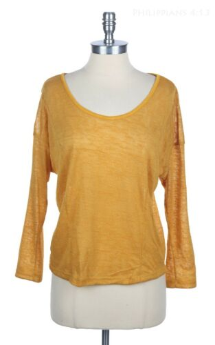 Mesh Knit Top with Overlapped Open Back Round Neck Long Sleeve Easy Comfy S M L