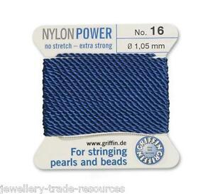 Green Nylon Potencia sedoso Cadena Hilo 1,05 mm Encordar Perlas Y Cuentas Griffin 16