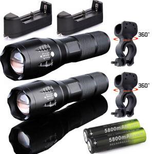 Ultrafire 50000 Lumens T6 LED Zoomable Flashlight+Case+Bike Clip Torch Sets UK